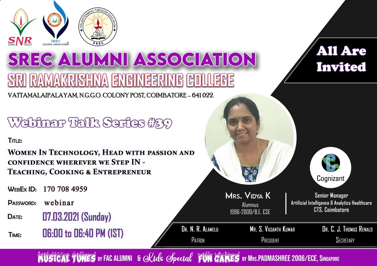 "Webinar Talk Series # 39 titled ""Women in Technology, Head with Passion and Confidence Wherever we Step IN- Teaching, Cooking & Entrepreneur"
