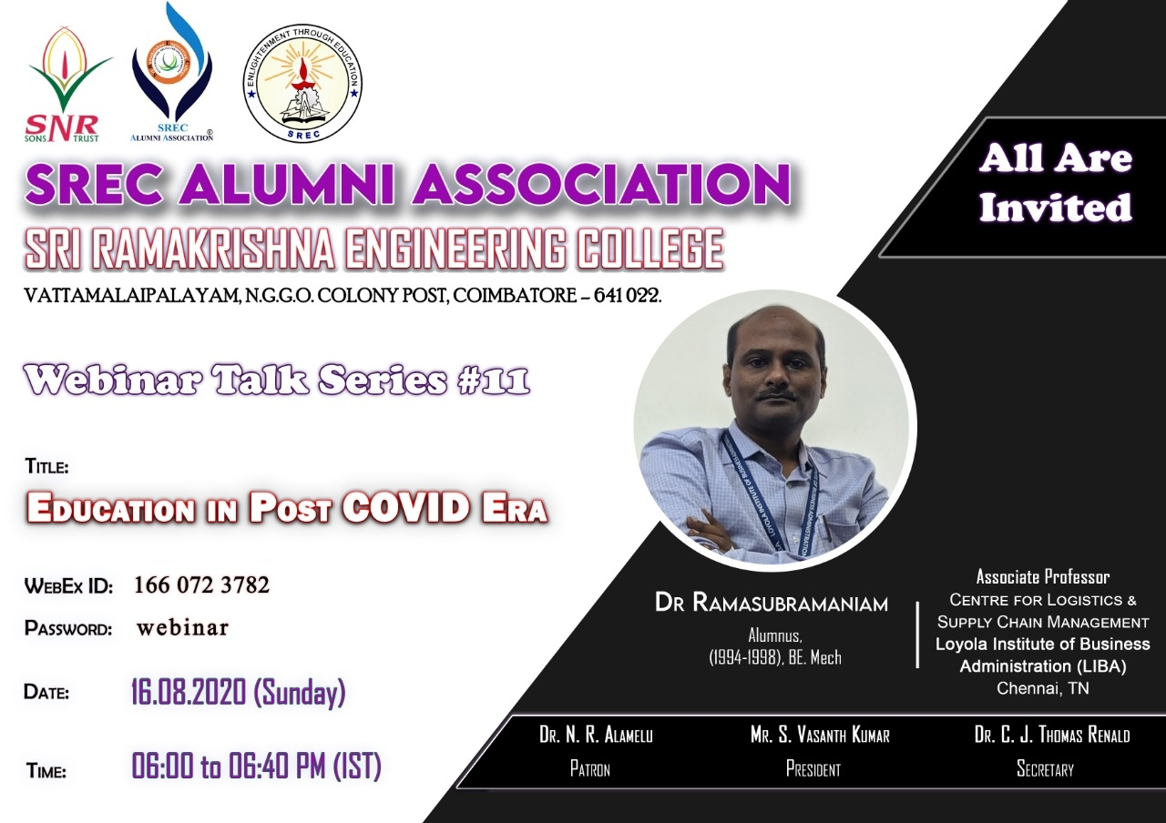 "A Webinar Talk series #11 ""Education in post COVID Era"""